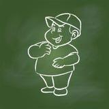Παχύ αγόρι σχεδίων χεριών στον πράσινο πίνακα - διανυσματική απεικόνιση Στοκ Φωτογραφία