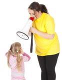 παχύ κορίτσι λίγη megaphone κραυγή &m στοκ φωτογραφίες