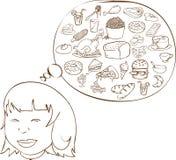 Παχύ κορίτσι που ονειρεύεται για τα τρόφιμα διανυσματική απεικόνιση
