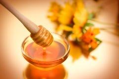 Παχύ μέλι που στάζει από το ξύλινο ραβδί στοκ εικόνες