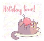 Παχύ παιχνίδι γατών με τη διακόσμηση Χριστουγέννων Νέο σχέδιο ευχετήριων καρτών έτους διανυσματικό στοκ εικόνα