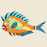 Παχύ τέρας ψαριών με τα ακανθωτά πτερύγια στους πορτοκαλιούς τόνους απεικόνιση αποθεμάτων