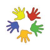 Παλάμες Colorfull των χεριών Στοκ Εικόνες