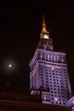 Παλάτι άποψης νύχτας του πολιτισμού και της επιστήμης στη Βαρσοβία στην Πολωνία Στοκ Φωτογραφία