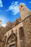Παλάτι βασιλιάδων στη Βαρκελώνη: μεσαιωνικό Παλάου Reial Royal Palace στα καταλανικά Placa del Rei King ` s στην πλατεία Στοκ Εικόνα