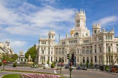 Παλάτι επικοινωνιών από Plaza de Cibeles, Μαδρίτη, Ισπανία Στοκ Εικόνα