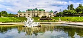 Παλάτι και κήπος πανοραμικών πυργίσκων στη Βιέννη Στοκ Εικόνες