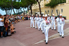 Παλάτι πρίγκηπα του Μονακό, αλλαγή της φρουράς Στοκ Εικόνα