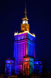 Παλάτι του πολιτισμού και της επιστήμης τη νύχτα. Βαρσοβία, Πολωνία Στοκ φωτογραφία με δικαίωμα ελεύθερης χρήσης