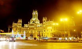 Παλάτι Cybele στη νύχτα Μαδρίτη Ισπανία Στοκ φωτογραφία με δικαίωμα ελεύθερης χρήσης