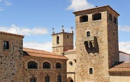 Παλάτι Golfines και καθεδρικός ναός, η μεσαιωνική πόλη, Caceres, Εστρεμαδούρα, Ισπανία στοκ φωτογραφία
