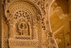 Παλάτι Mandir σε Jaisalmer, Rajasthan, Ινδία Λεπτομέρεια της χάραξης Στοκ φωτογραφίες με δικαίωμα ελεύθερης χρήσης