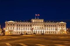 Παλάτι Mariinsky στο τετράγωνο του ST Isaac ` s τη νύχτα, Αγία Πετρούπολη Στοκ Φωτογραφίες