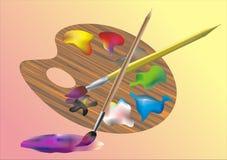 Παλέτα με τα χρώματα και τις καλλιτεχνικές βούρτσες Στοκ φωτογραφία με δικαίωμα ελεύθερης χρήσης