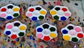 Παλέτα σύστασης υποβάθρου των χρωμάτων watercolor χρωμάτων Στοκ Εικόνες