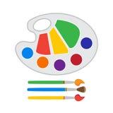 Παλέτα χρώματος με τις βούρτσες Στοκ Εικόνες