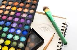 Παλέτα χρώματος σκιών ματιών με το μάτι βουρτσών και σχεδίων σε χαρτί Στοκ Εικόνες
