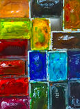 Παλέτα Watercolor, ζωηρόχρωμο υπόβαθρο, watercolors σε ένα κιβώτιο Στοκ εικόνα με δικαίωμα ελεύθερης χρήσης