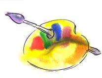 Παλέτα Watercolor με τη βούρτσα Στοκ Φωτογραφία