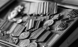 Παλαίμαχος μεταλλίων του Δεύτερου Παγκόσμιου Πολέμου Στοκ Εικόνα