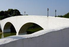 Παλαιά άσπρη γέφυρα για πεζούς πετρών Στοκ Φωτογραφία