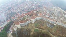 Παλαιά ακρόπολη Rasnov, εναέρια άποψη απόθεμα βίντεο