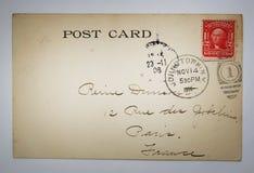 Παλαιά αμερικανική κάρτα με το γραμματόσημο από τη Νέα Υόρκη Στοκ Εικόνα