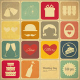 Παλαιά αναδρομική κάρτα γαμήλιας πρόσκλησης Στοκ εικόνες με δικαίωμα ελεύθερης χρήσης
