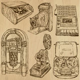 Παλαιά αντικείμενα αριθ. 3 - συρμένη χέρι συλλογή Στοκ Εικόνες
