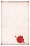 Παλαιά απομονωμένη έγγραφο λάκκα σφραγίδων κεριών Στοκ Εικόνα
