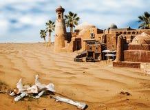 Παλαιά ασιατική πόλη φαντασίας στην έρημο Στοκ Εικόνες