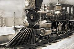 Παλαιό τραίνο ατμού σε γραπτό Στοκ φωτογραφίες με δικαίωμα ελεύθερης χρήσης