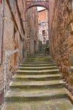 Παλαιά αλέα στο χωριό Anghiari, Αρέζο, Τοσκάνη, Ιταλία Στοκ Εικόνες