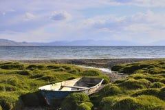 Παλαιά βάρκα στην ακτή γιος-Kul στοκ εικόνες