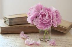 Παλαιά βιβλία και λουλούδια Στοκ Εικόνες