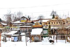 Παλαιά γειτονιά το χειμώνα - Plios, Ρωσία Στοκ Εικόνες