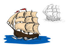 Παλαιά γουλιά πανιών στον ωκεανό Στοκ εικόνα με δικαίωμα ελεύθερης χρήσης