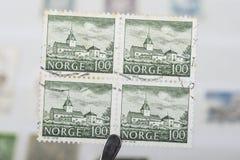 Παλαιά γραμματόσημα της Νορβηγίας Στοκ Εικόνα