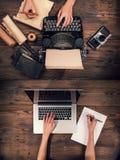 Παλαιά γραφομηχανή με το lap-top, έννοια παλαιά και νέα Στοκ φωτογραφίες με δικαίωμα ελεύθερης χρήσης