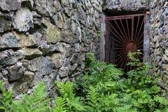 Παλαιά εγκαταλειμμένη σκουριασμένη πόρτα κιγκλιδωμάτων Στοκ Φωτογραφία