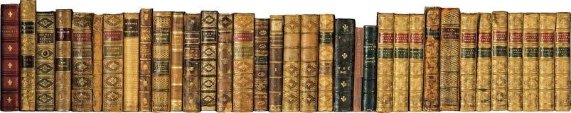 Παλαιά εκλεκτής ποιότητας αντίκα βιβλίων σε μια σειρά Στοκ Εικόνες