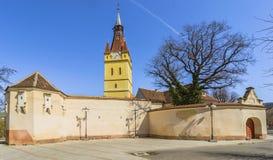 Παλαιά ενισχυμένη εκκλησία στο Cristian, Brasov, Ρουμανία στοκ εικόνα