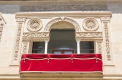 Παλαιά λεπτομέρεια προσόψεων σπιτιών και φυλακών δικαιοσύνης, τώρα Δημαρχείο, Baeza, στοκ εικόνες