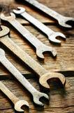 Παλαιά εργαλεία, γαλλικά κλειδιά Στοκ εικόνα με δικαίωμα ελεύθερης χρήσης