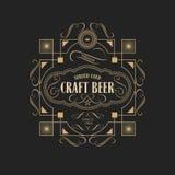 Παλαιά ετικέτα μπύρας τεχνών συνόρων πλαισίων εκλεκτής ποιότητας αναδρομική απεικόνιση αποθεμάτων