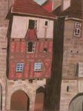 Παλαιά ευρωπαϊκή κρητιδογραφία κτηρίων Στοκ Εικόνες