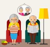 Παλαιά ευτυχής ευρωπαϊκή οικογενειακή συνεδρίαση γυναικών ανδρών σε μια πολυθρόνα στο σπίτι Στοκ Φωτογραφία