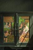 Παλαιά ζωγραφική παραθύρων Ταϊλανδού Στοκ Φωτογραφία