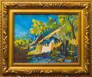 Παλαιά ζωγραφική του χωριού τρόπου ζωής Στοκ Φωτογραφίες