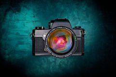 Παλαιά κάμερα από τη τοπ άποψη Στοκ Εικόνες